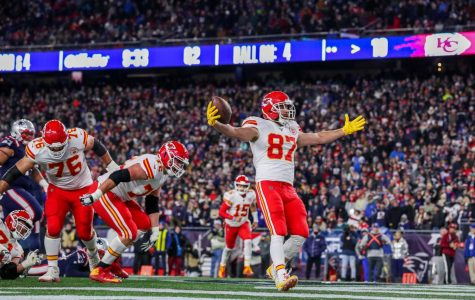 Travis Kelce, tight end, celebrates in the end zone after giving the Chiefs a 16-7 lead. Kelce directly took the snap, fooling the Patriots into thinking it was a potential trick play. In addition to the touchdown, he caught seven passes for 66 yards as the Chiefs beat the Patriots 23-16.