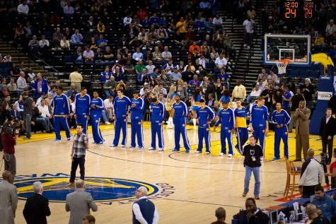 The Golden State Warriors line up before a game against the Detroit Pistons. The Warriors may be forced to relocate some games to Kansas City due to the ongoing coronavirus pandemic.