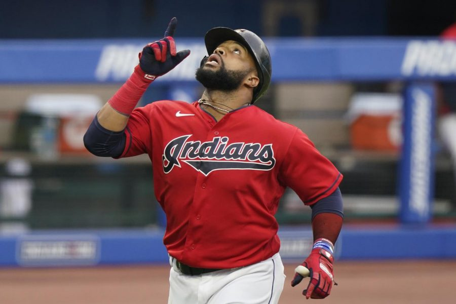 Carlos+Santana+points+towards+the+sky+after+hitting+a+home+run+in+a+game+against+the+Chicago+White+Sox.+Santana+signed+with+the+Royals+on+Dec.+8+and+will+be+a+desperately-needed+power+bat+in+their+lineup.