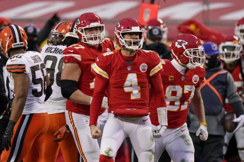 Kansas City Chiefs backup quarterback Chad Henne celebrates with his teammates after diving for what was, at the time, a game-clinching first down against the Cleveland Browns. After review, the referees marked Henne just short of the first down, but it took only one more play to seal the 22-17 win for the Chiefs.