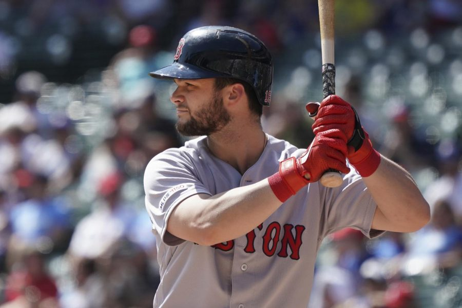 Then-Red Sox left fielder Andrew Benintendi takes an at-bat against the Texas Rangers on Sept. 29, 2019. Benintendi was acquired by the Royals on Feb. 11 to fill the hole in left field, as well as to provide a left-handed bat for the lineup.