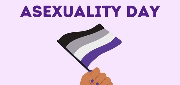 Celebrate International Asexuality Day by learning more about ace identities and symbols! On the ace flag, each stripe represents a different identity. Black is Asexuality, Grey is Gray-Asexuality and Demisexuality, White is non-Asexual partners and allies, and Purple represents the entire community.